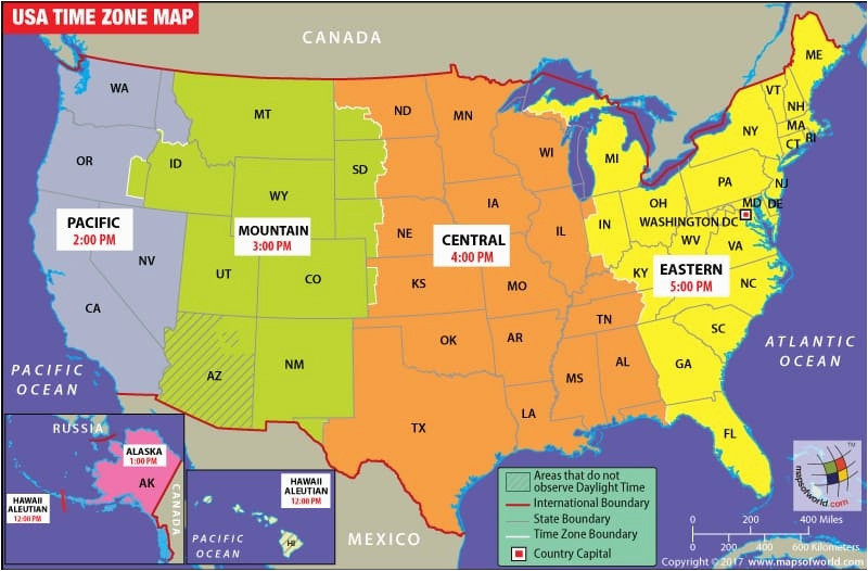 states map of usa with capitals usa time zone map current local
