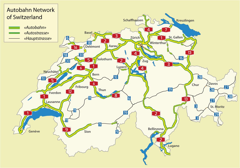 highways in switzerland motorway maps road tolls maximum speed