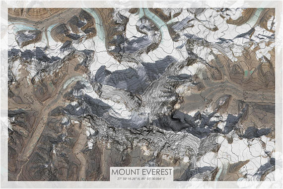 mount everest topographic map mt everest topo map mt everest