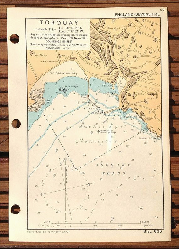 vintage ww2 admiralty chart of torquay by wafflesandsprout on etsy