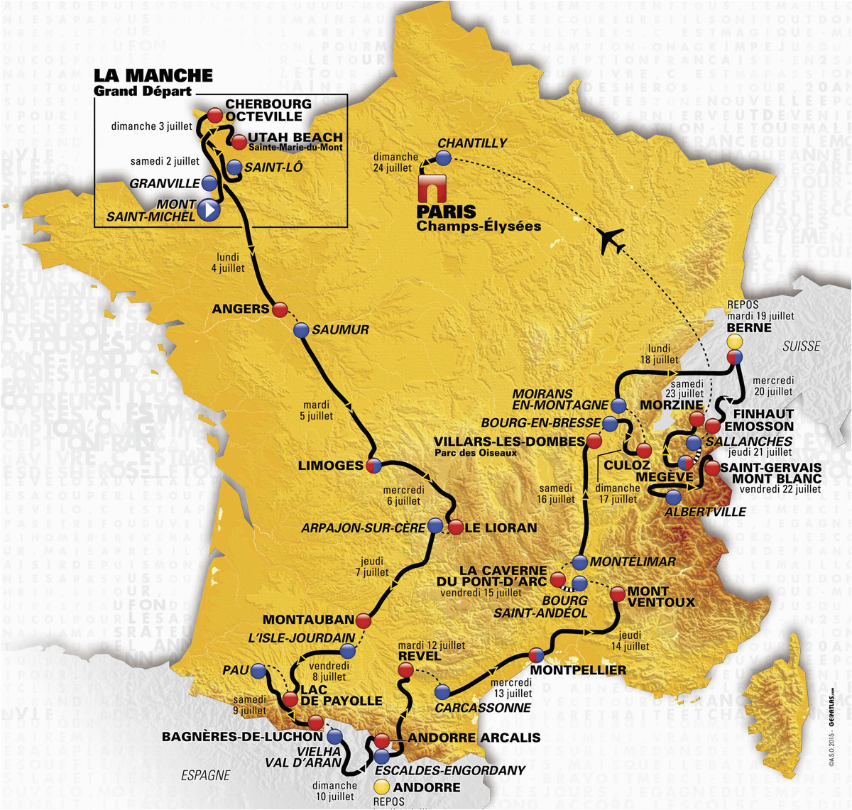 Tour De France 2014 Route Map tour De France 2016 Die Strecke