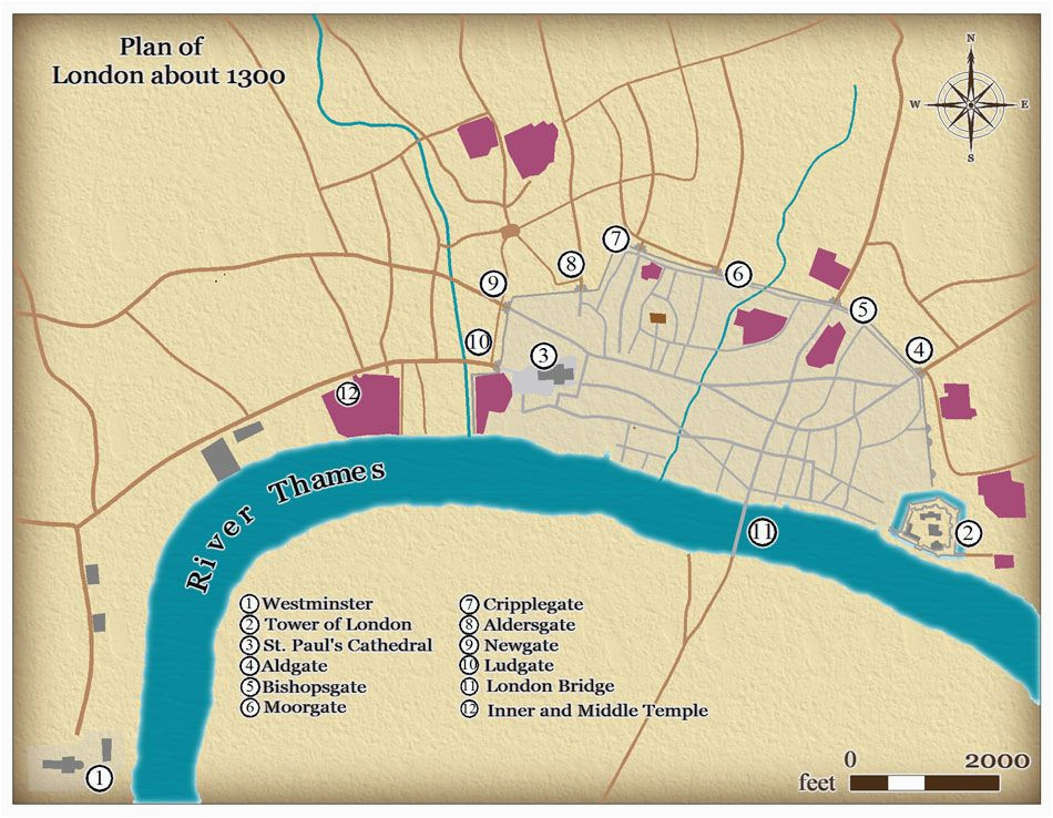 this map shows the size and layout of medieval london in around 1300