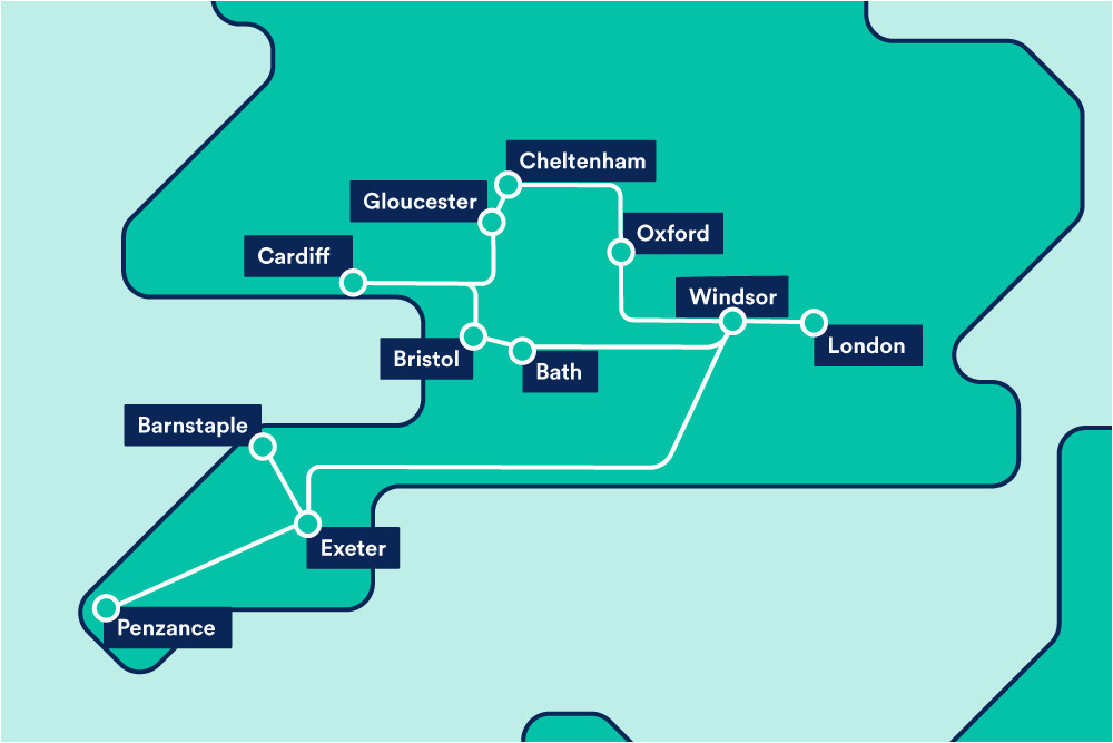 Train Line Map England Great Western Train Rail Maps