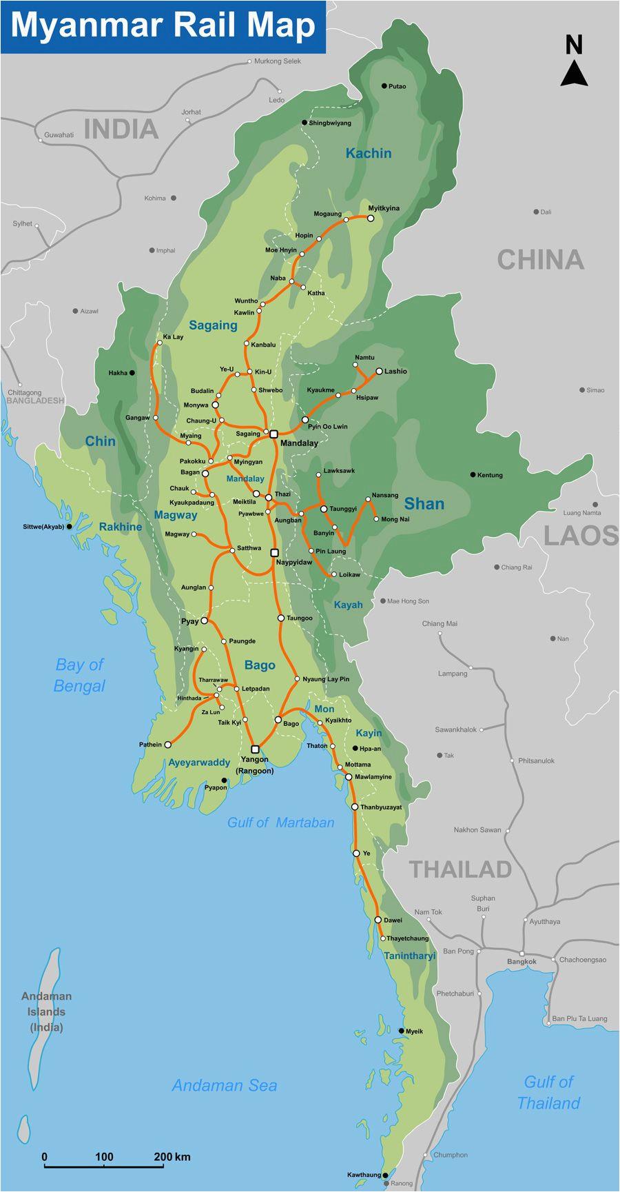 myanmar rail map by seacitymaps com southeast asia