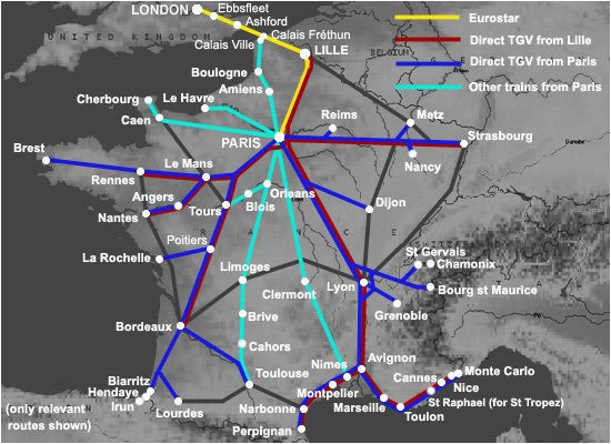 Train Travel France Map Trains From London to France From A 35 London to Nice