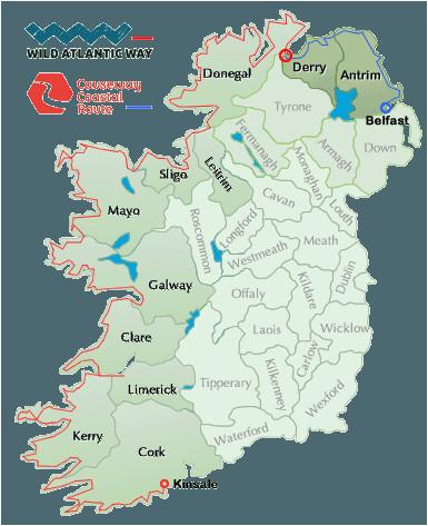 wild atlantic way map ireland ireland map ireland travel donegal