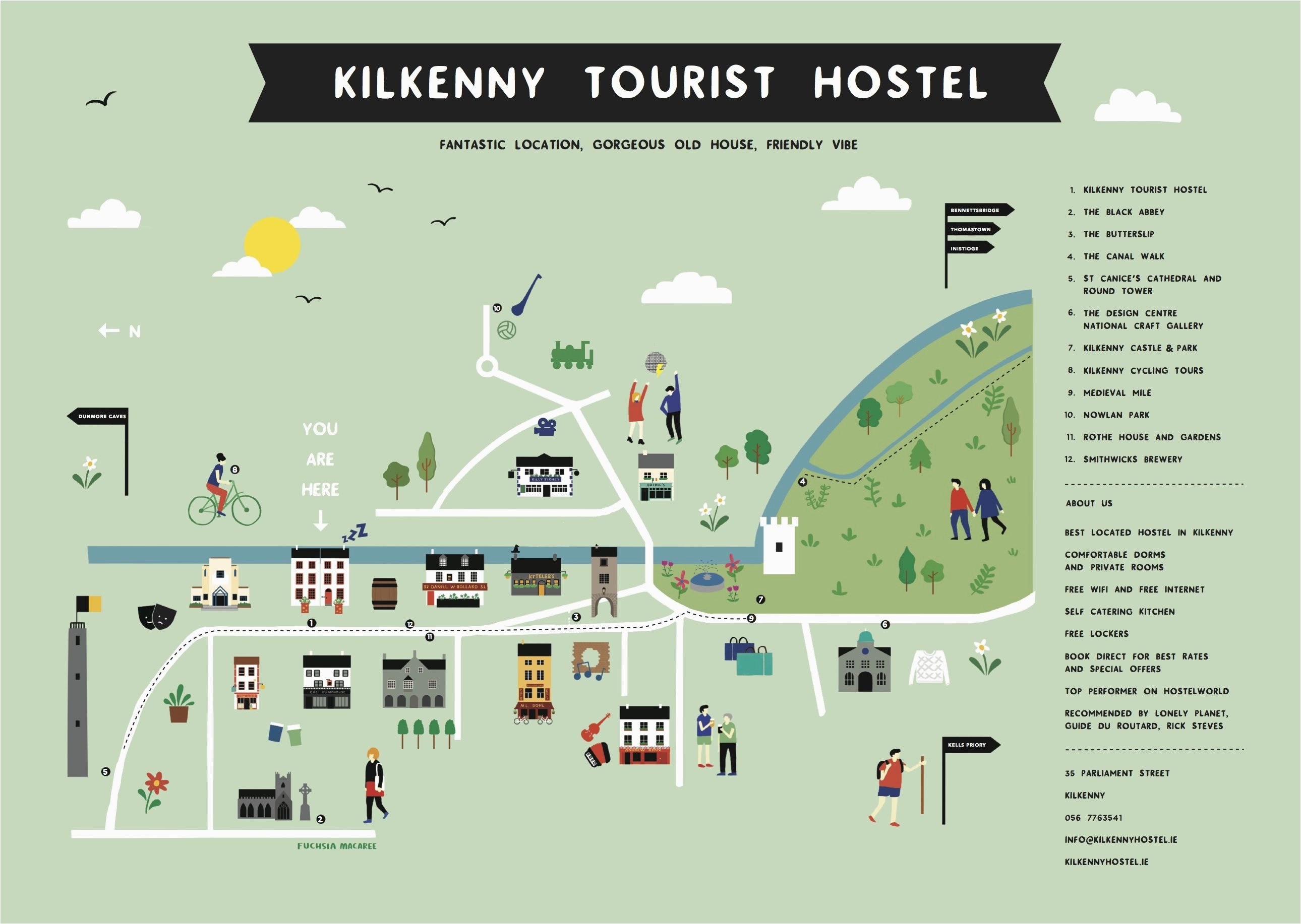 kilkenny tourest hostel map ireland trip 2015 irland
