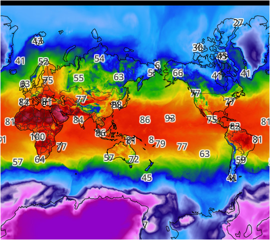 world high temperatures map