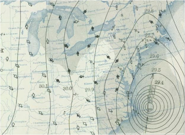 weather map from the 1938 new england hurricane graphic map