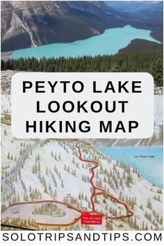 peyto lake map of the overlook hiking trail along the icefields