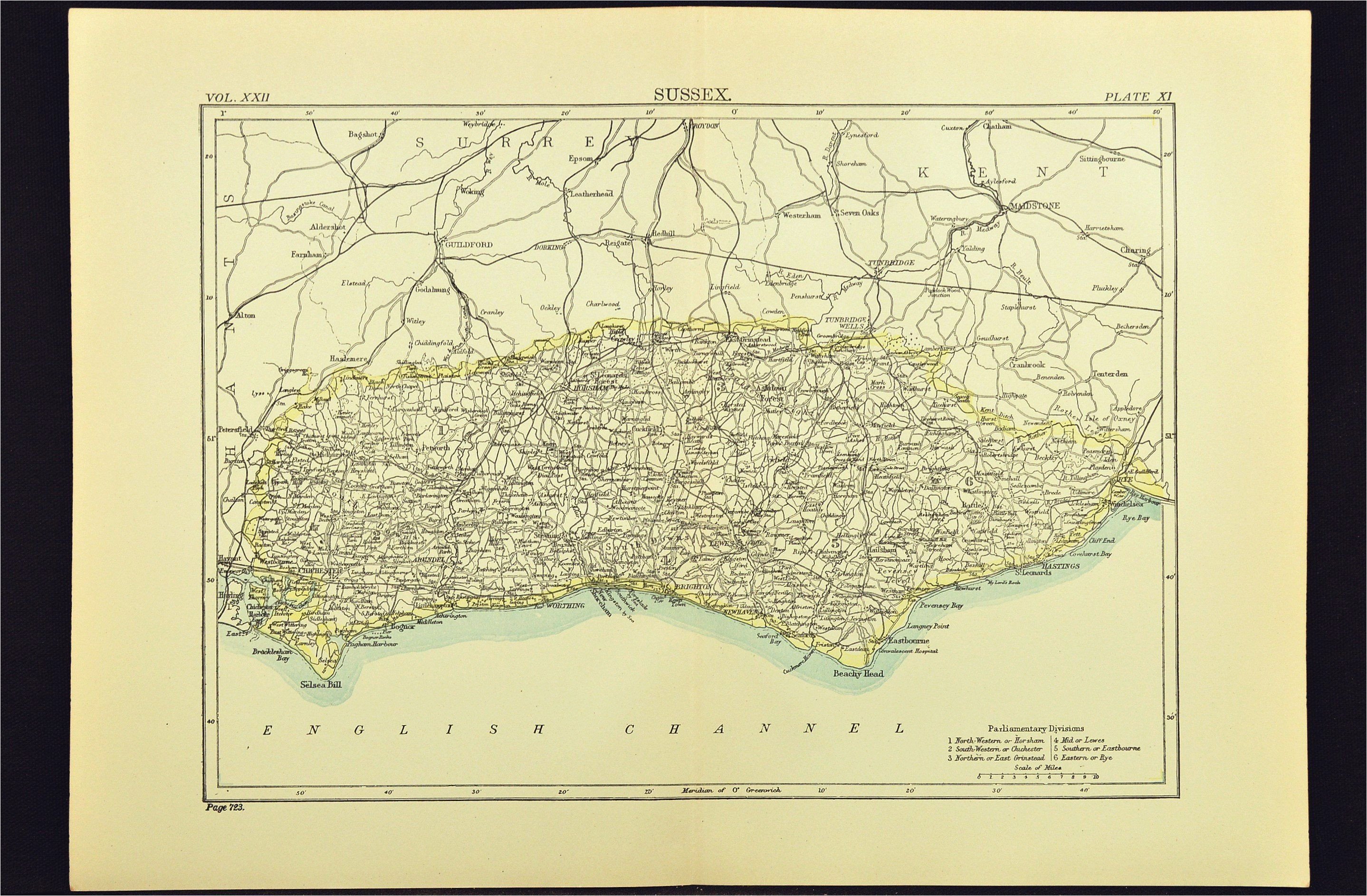 antique sussex map of sussex county england united kingdom