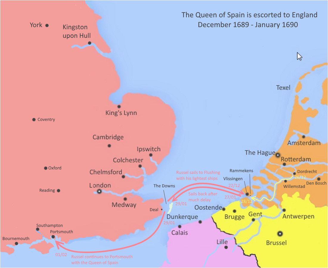 the queen of spain sails to england january 1690