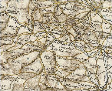 history of kirkheaton in kirklees and west riding map and description