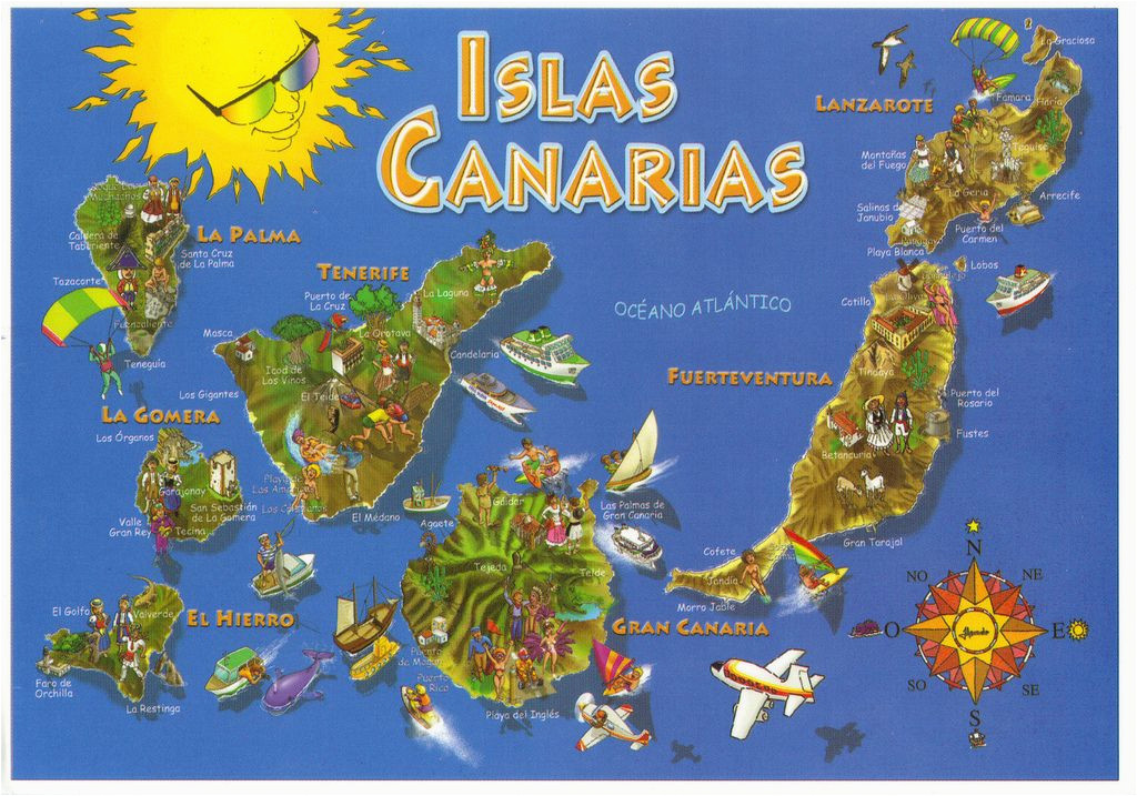 canary islands spain map postcard in 2019 lanzarote canarian