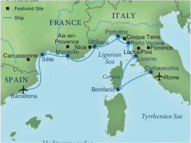 map of spain france and italy cruising the rivieras of italy france