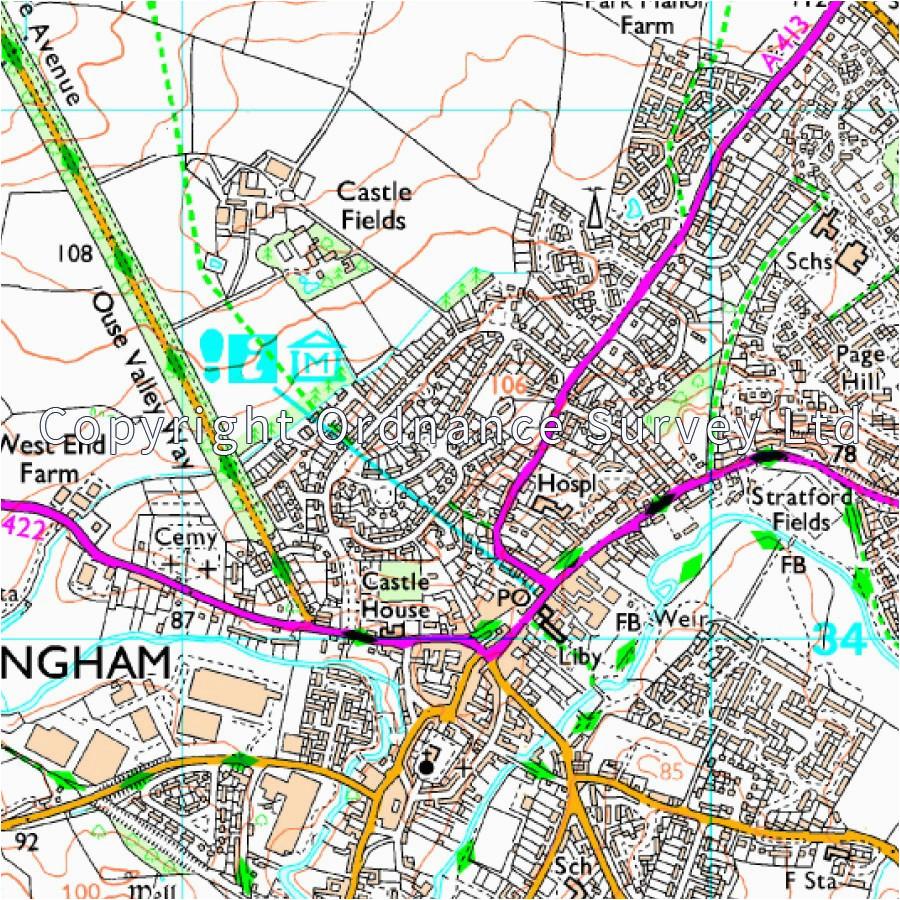 map of milton keynes buckingham os 192 explorer map leighton