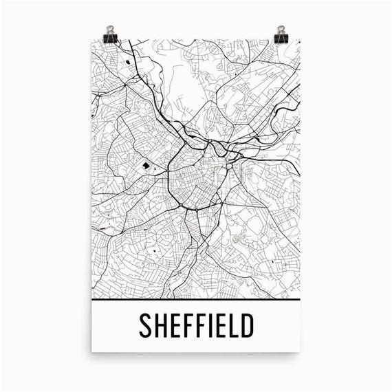 sheffield map sheffield art sheffield print sheffield