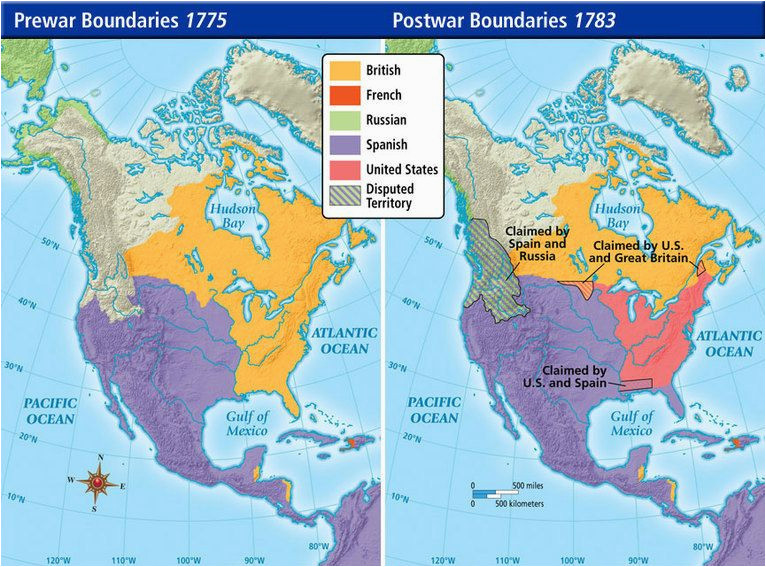 pre war and post war borders in northern america in 1775 1783