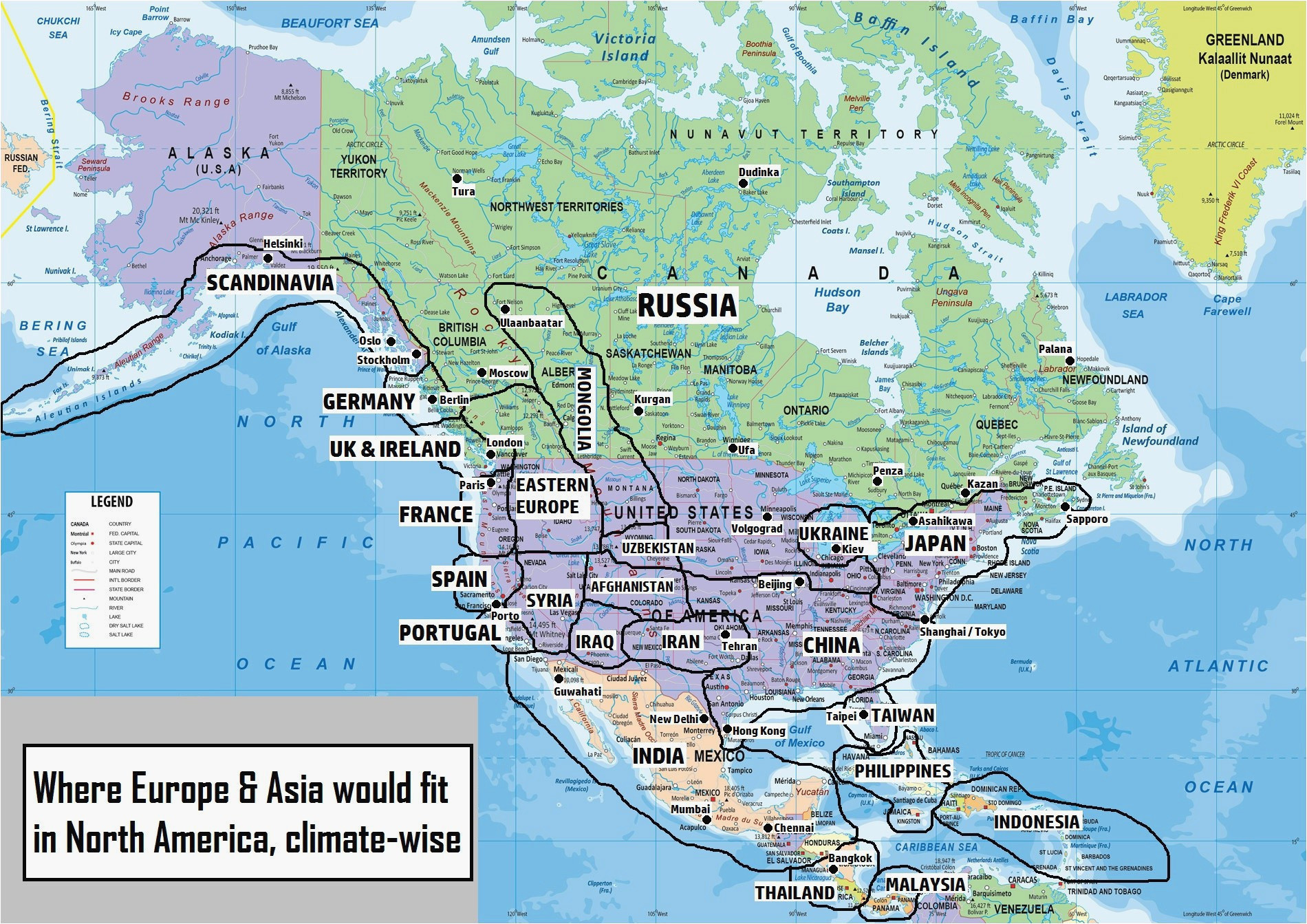 World Map Showing Canada where is California On the World Map north America Map Stock