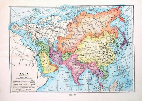 asia map antique 1910 world atlas book plate 9 x 7 ta