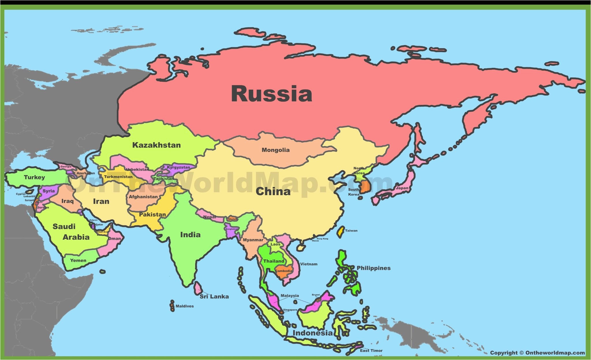 russia china india maps asia map world map with