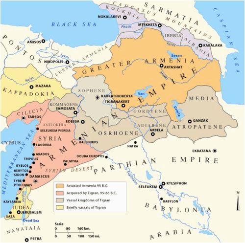 the armenian empire at it s peak 66 bc armenian