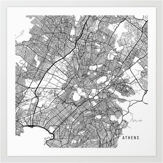 athens map greece black and white map maps in 2019