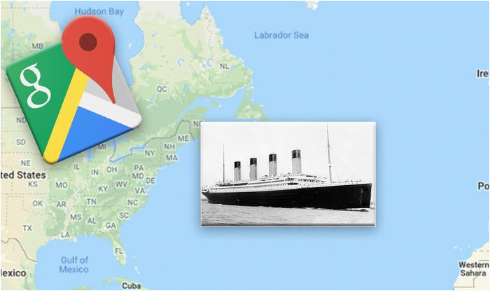 google maps exact location of the titanic wreckage revealed