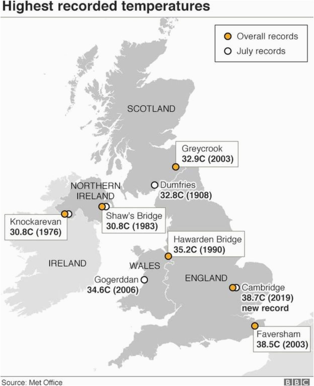 Bbc Europe Weather Map Uk Heatwave Met Office Confirms Record Temperature In