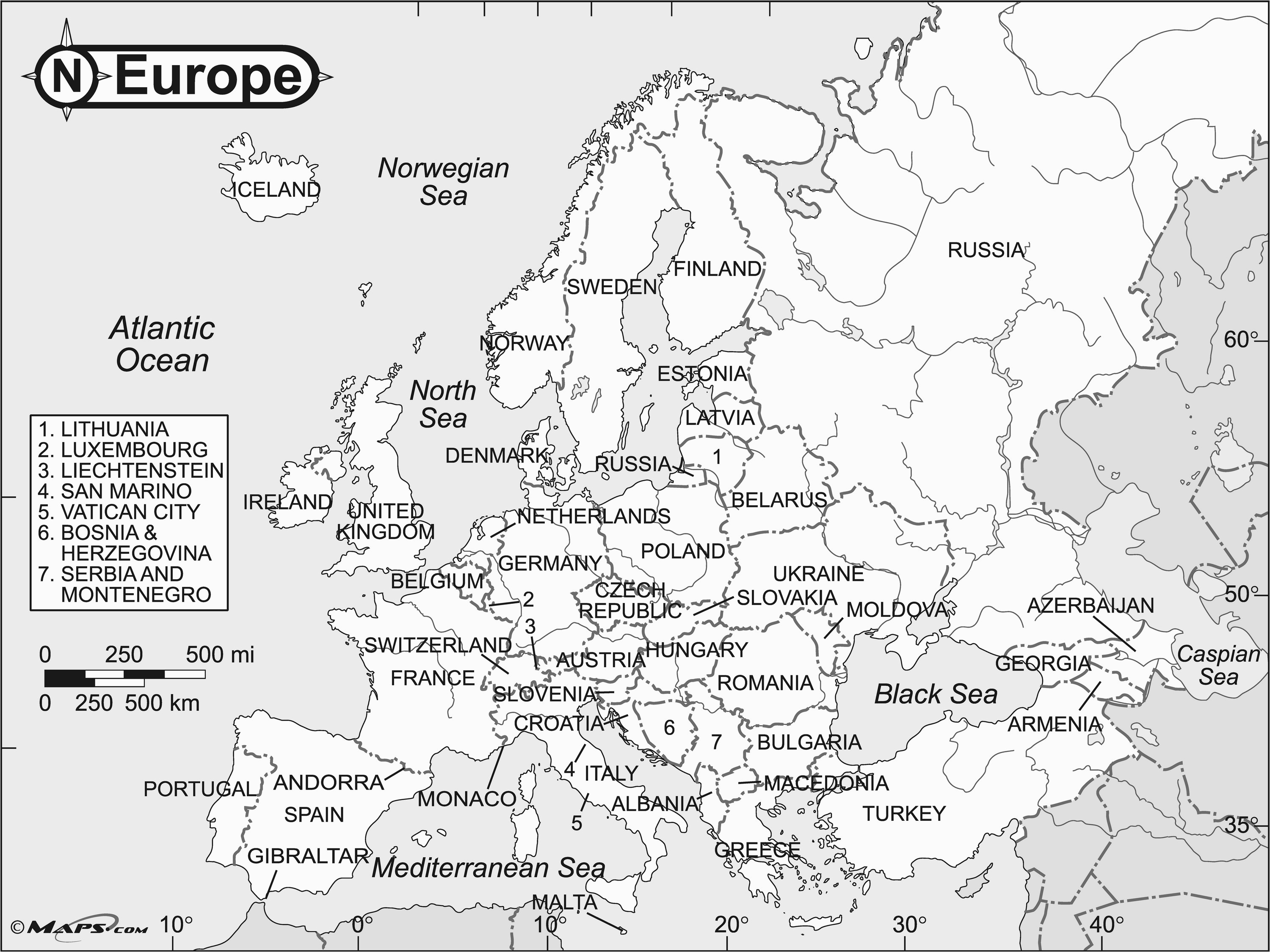 62 unfolded simple europe map black and white