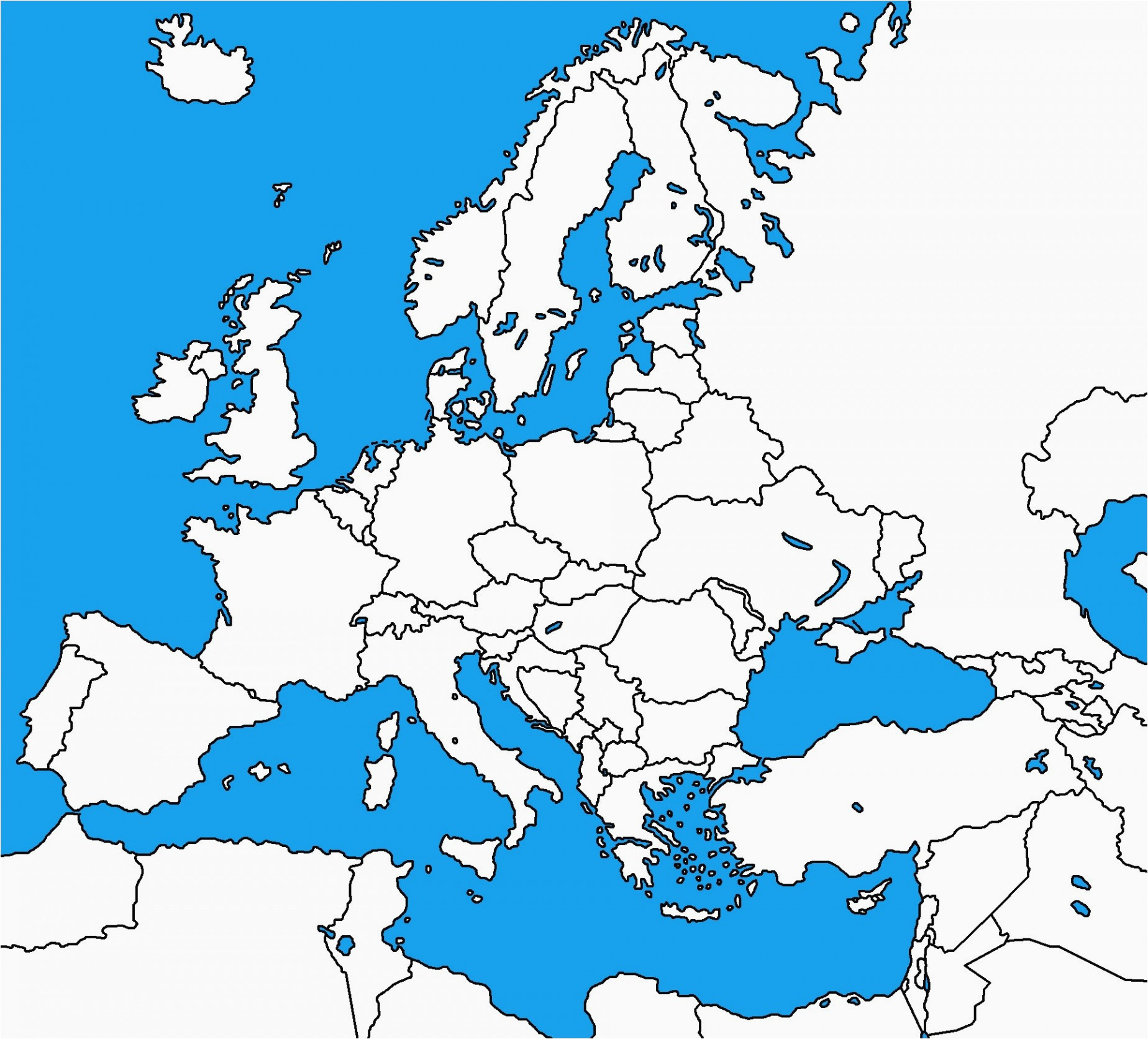 map of europe unlabeled climatejourney org