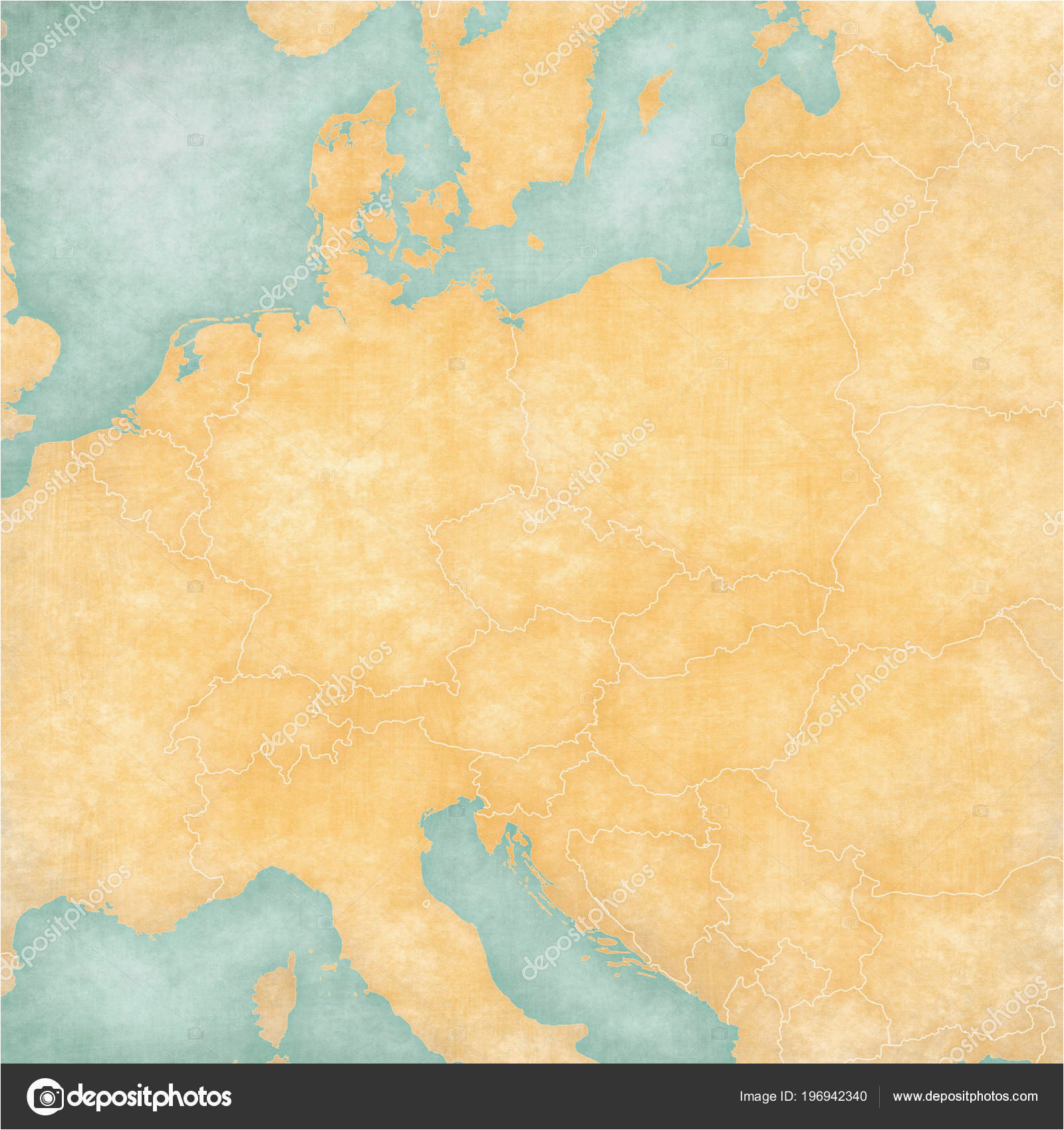 blank map central europe country borders soft grunge vintage
