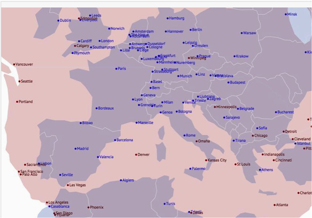 maps on the web european and na cities overlaid with