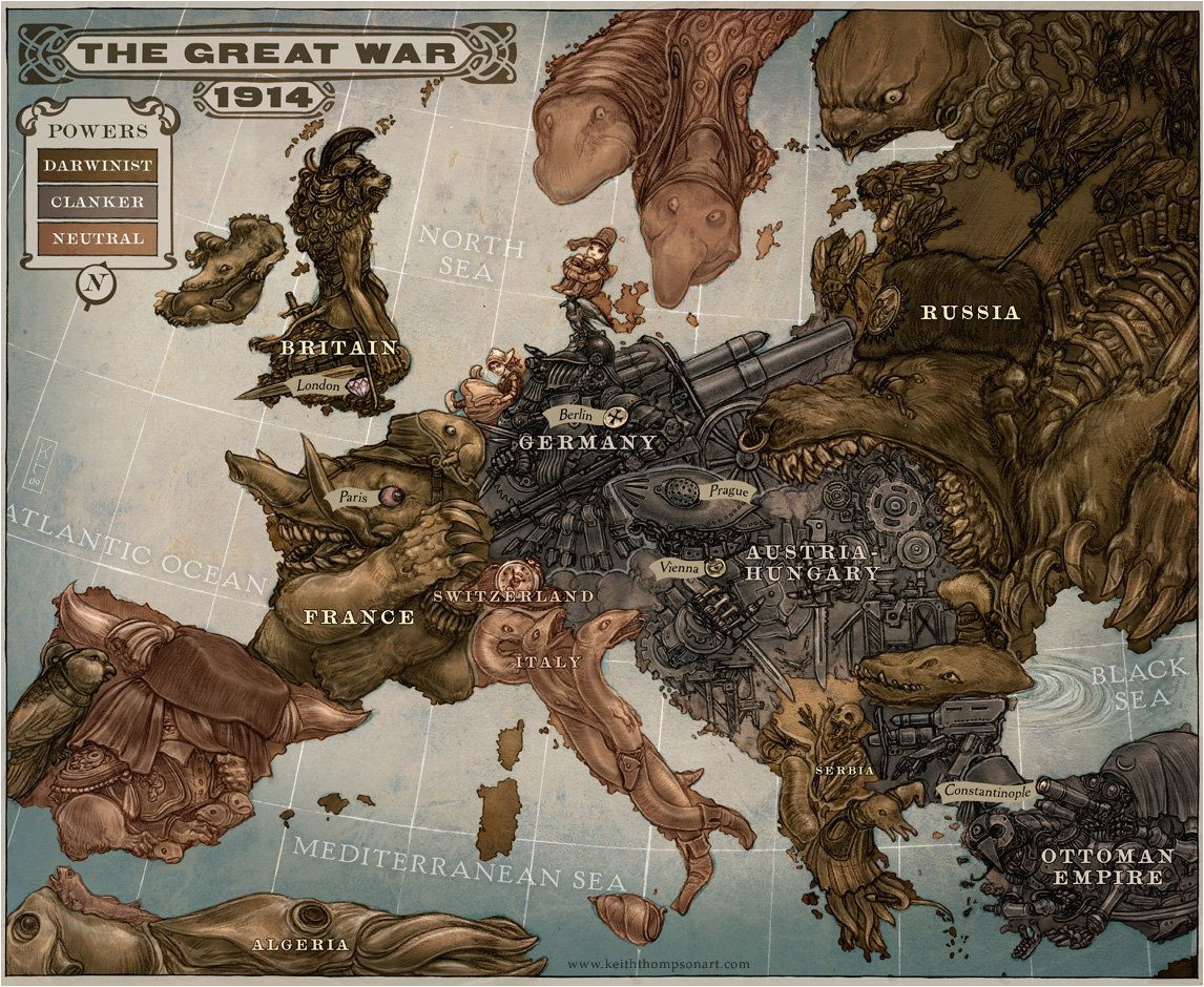 caricature map of europe 1914 by keithwormwood on deviantart