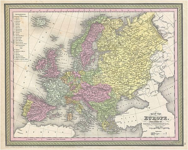 Color Coded Map Of Europe File 1850 Mitchell Map Of Europe Geographicus Europe