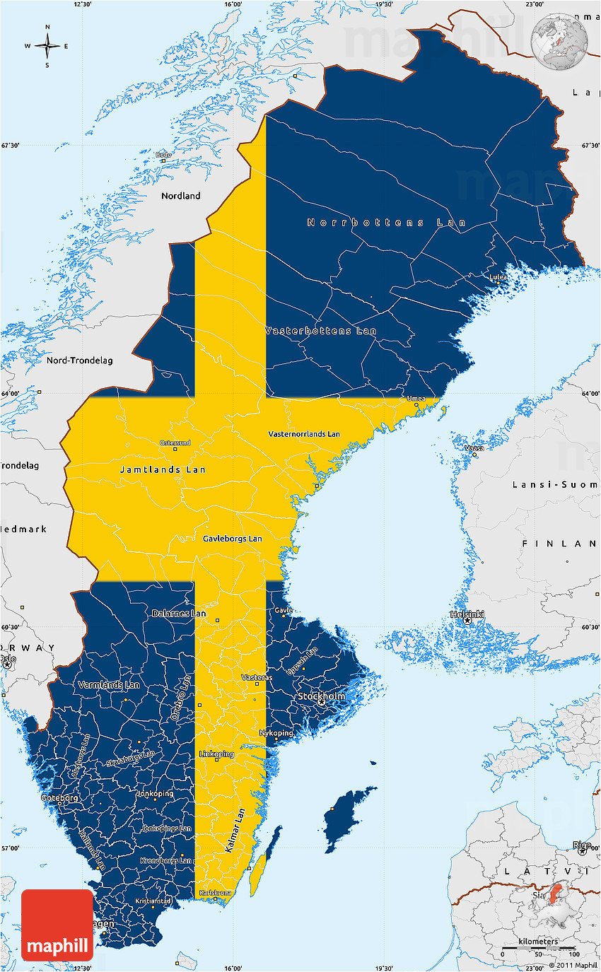 flag simple map of sweden single color outside borders and