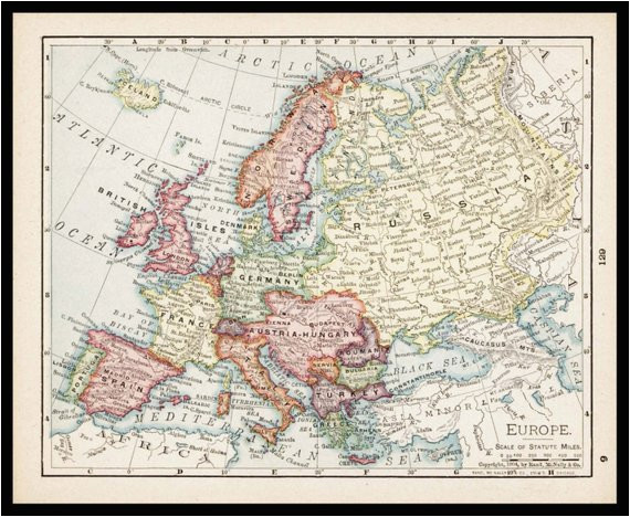 small antique europe map of europe european map wall decor