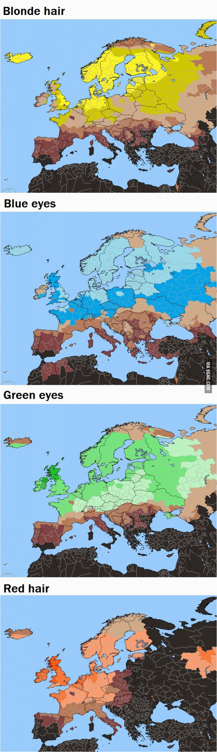 europe by hair eye color maps map blue eyes