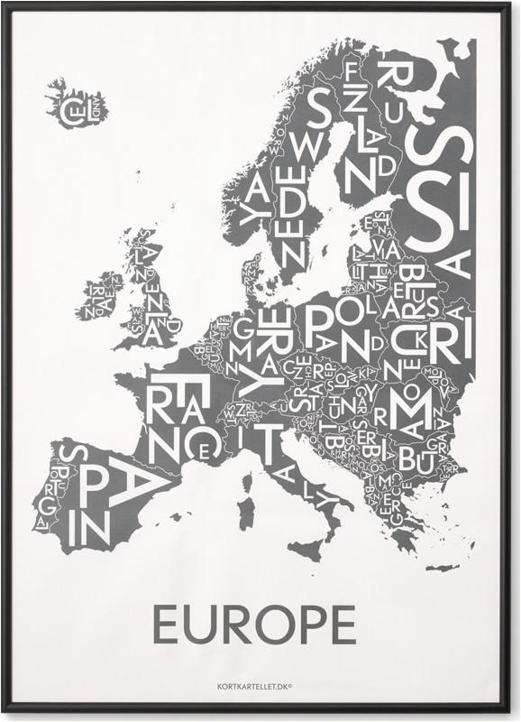 europe map by kortkartellet 50 x 70cm wall art print