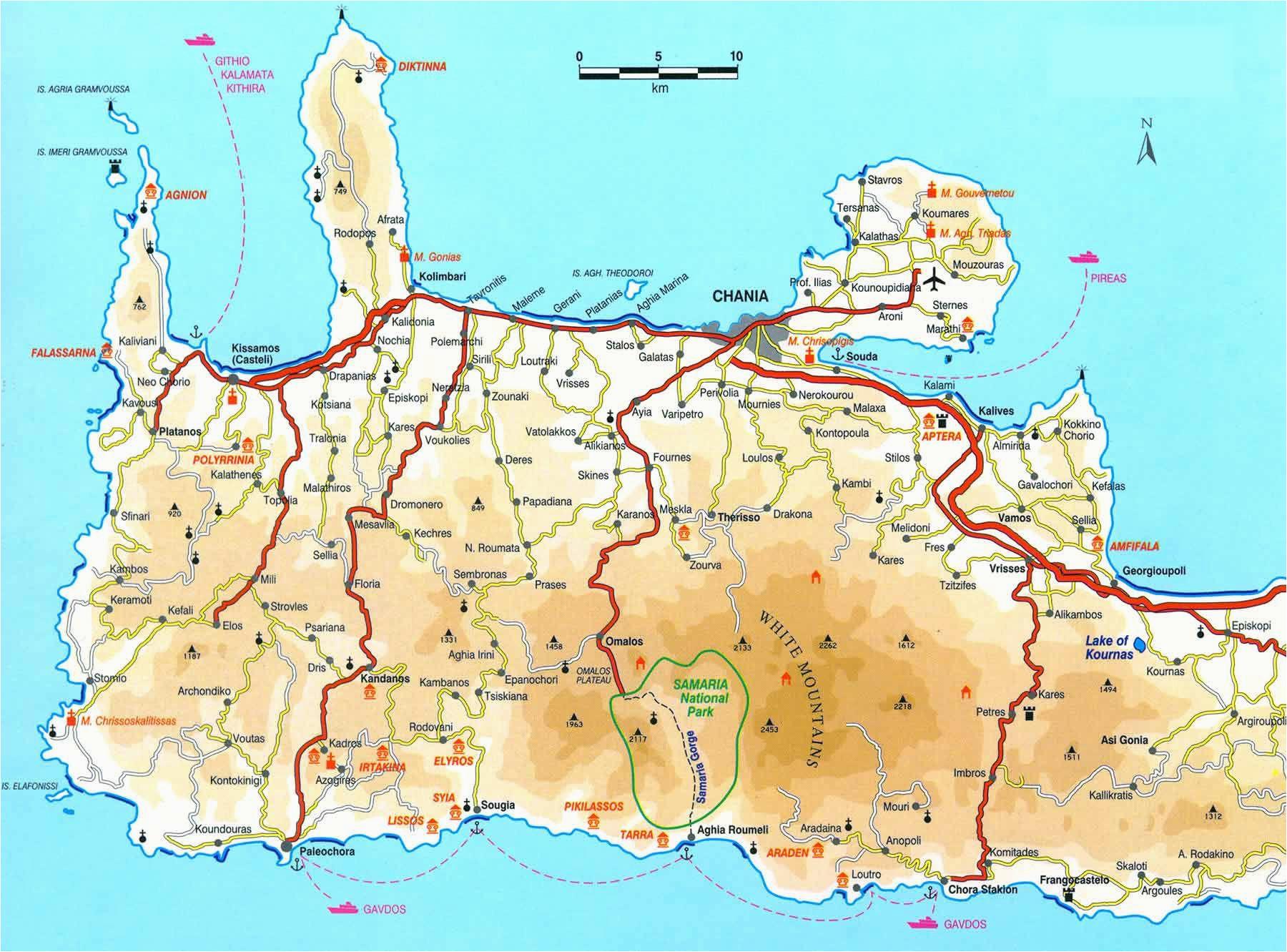 map of crete click to enlarge athens crete map crete