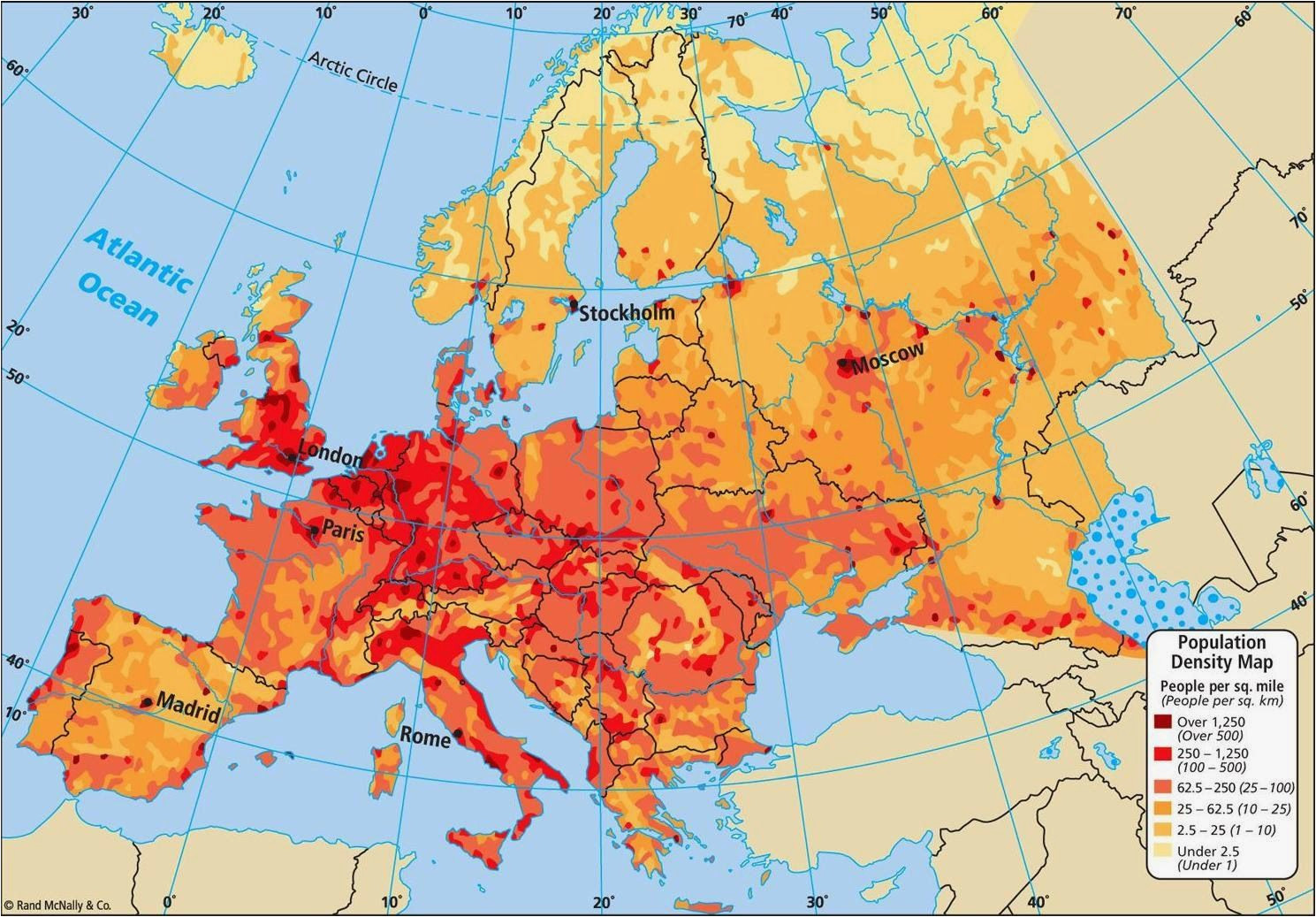 Demographic Map Of Europe Population Density Map Of Europe Casami