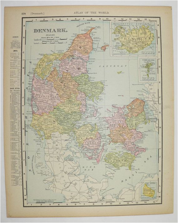 vintage map of denmark 1901 antique map iceland european