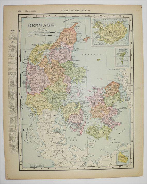 vintage map of denmark 1901 antique map iceland european