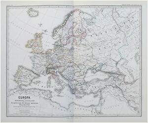 details about 1874 map europe peace of westphalia spanish monarchy 1648 to 1700 spruner