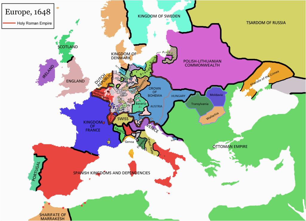 europe map 1648 vestfalsky mier wikipedia zjednodua na