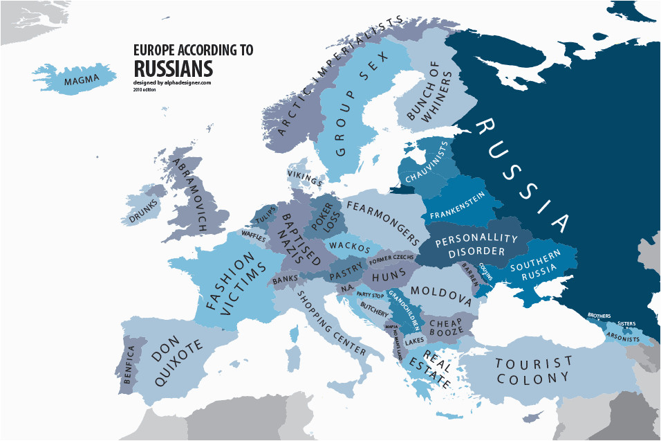 europe according to russians interesting funny maps map
