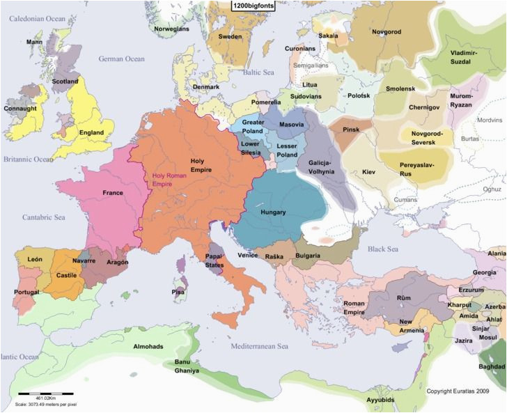 historical map of europe in the year 1200 ad historical