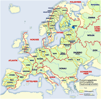 Europe Major Rivers Map List Of Rivers Of Europe Wikipedia