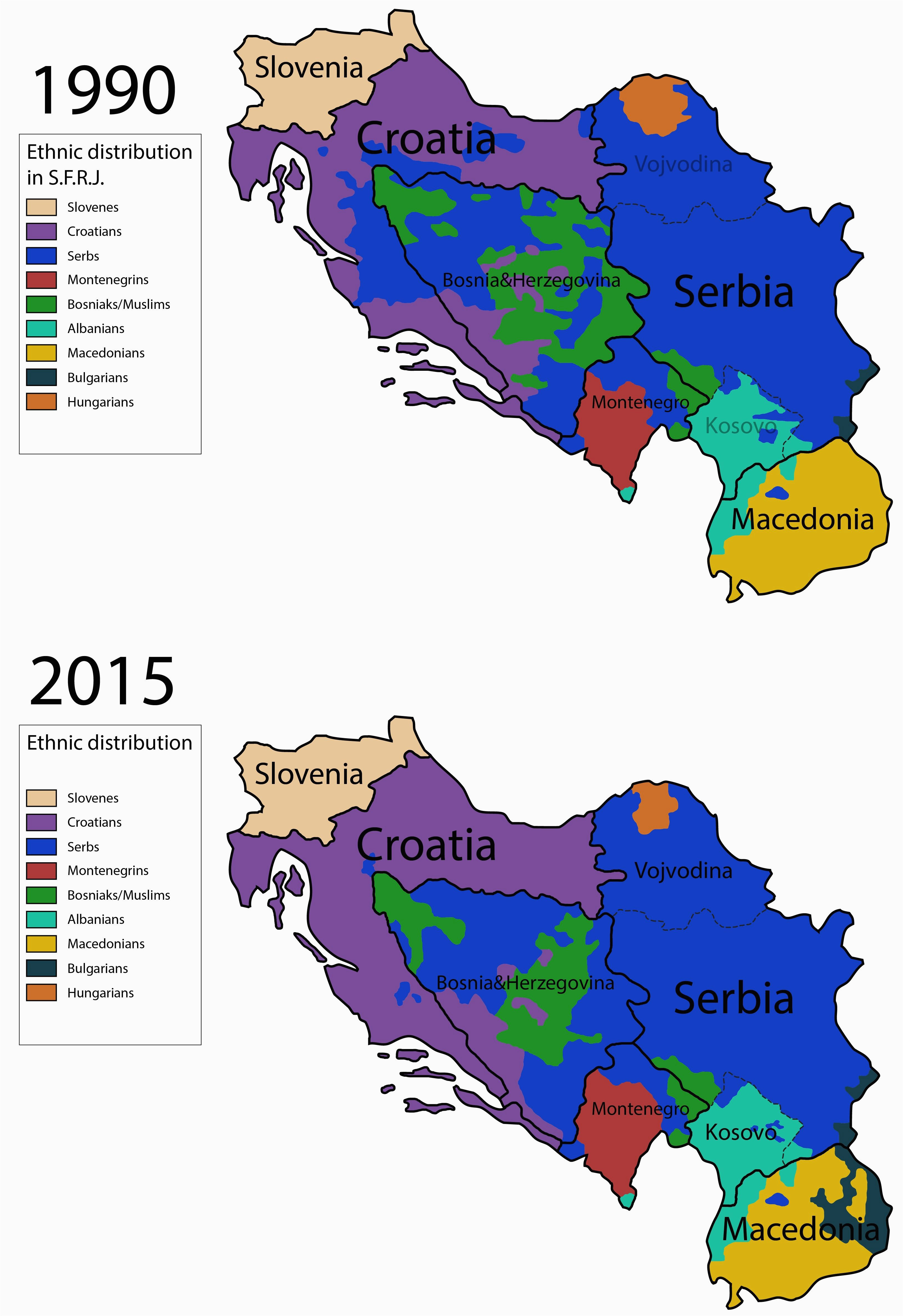 ethnic map of yugoslavia before and after the war 1990