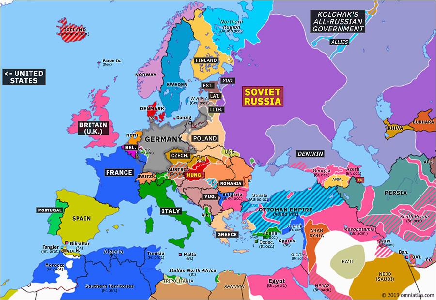 Europe Map In 1919 Europe 1919 Map